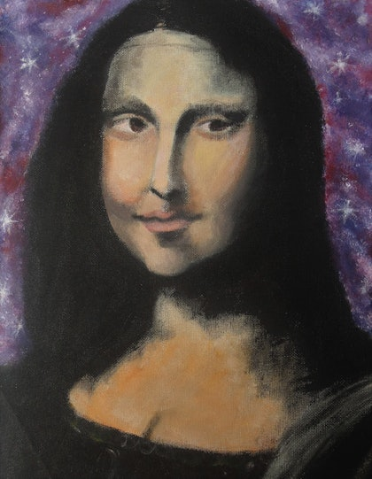 (CreativeWork) The Monalisa  by Princess Chinoyi. arcylic-painting. Shop online at Bluethumb.