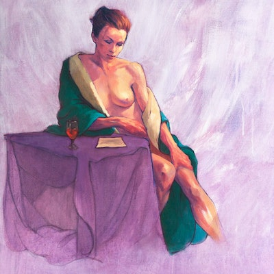 (CreativeWork) Annie and the Letter by Roz McQuillan. Oil Paint. Shop online at Bluethumb.