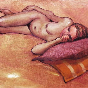 (CreativeWork) Reclining Female Nude by Roz McQuillan. oil-painting. Shop online at Bluethumb.