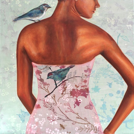 (CreativeWork) A Little Birdie Told Me by Leah Mariani. Oil Paint. Shop online at Bluethumb.