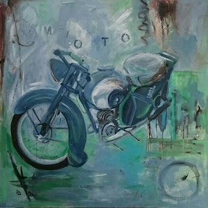 (CreativeWork) La Moto by Paola Ditel. arcylic-painting. Shop online at Bluethumb.