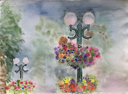(CreativeWork) Garden Lights by Niloo Jalalian. watercolour. Shop online at Bluethumb.