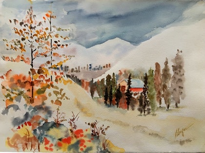 (CreativeWork) Up on the hills by Niloo Jalalian. watercolour. Shop online at Bluethumb.