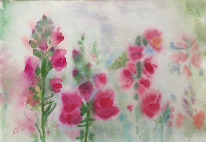 (CreativeWork) The Antirrhinums by Niloo Jalalian. watercolour. Shop online at Bluethumb.