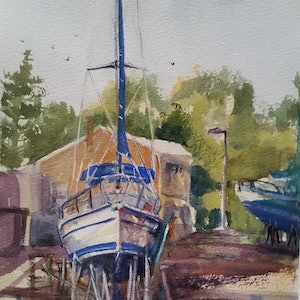 (CreativeWork) Marmong Point Marina 2 by Helen Elphinstone - King. watercolour. Shop online at Bluethumb.