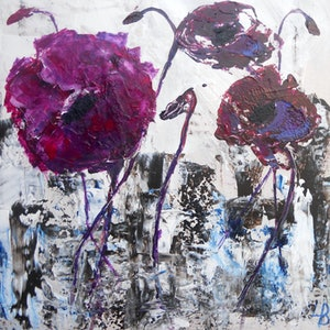 """(CreativeWork) """"Abstract Poppies"""" by linda bartlett. arcylic-painting. Shop online at Bluethumb."""