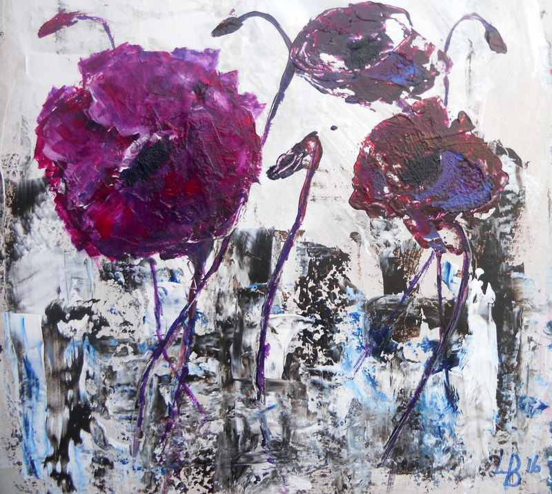 "(CreativeWork) ""Abstract Poppies"" by linda bartlett. arcylic-painting. Shop online at Bluethumb."