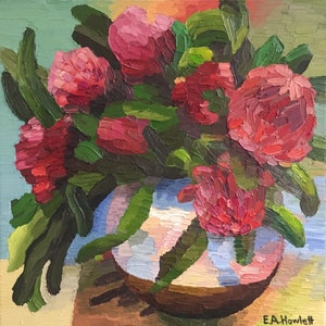 (CreativeWork) Waratah Bunch  by Elisabeth Howlett. oil-painting. Shop online at Bluethumb.