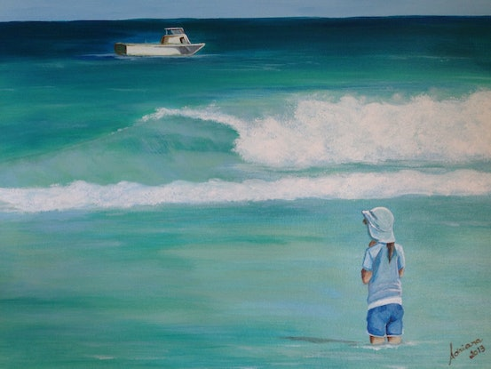 (CreativeWork) Fun day at the beach by Adriana Nascimento. Acrylic Paint. Shop online at Bluethumb.