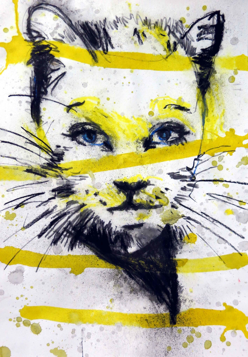(CreativeWork) Love Me 37 (feline) by John Graham. mixed-media. Shop online at Bluethumb.