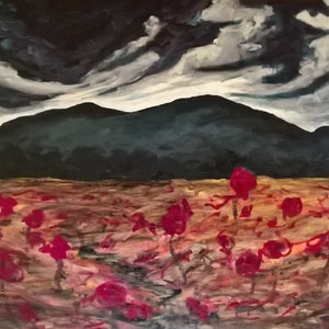 (CreativeWork) poppies wild by Michael Ryan. oil-painting. Shop online at Bluethumb.
