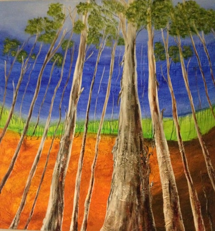 (CreativeWork) Hinterland by Elizabeth Young. arcylic-painting. Shop online at Bluethumb.