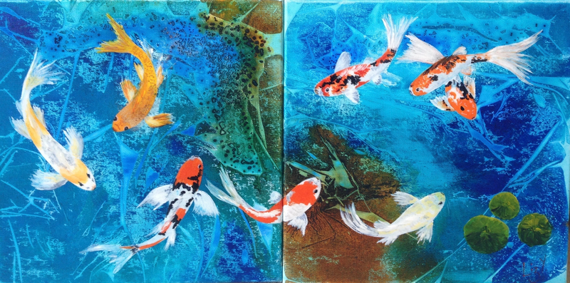 (CreativeWork) koi pond diptych by Elizabeth Young. mixed-media. Shop online at Bluethumb.