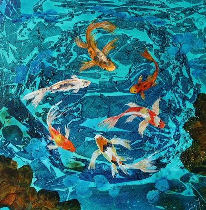 (CreativeWork) Koi pond   by Elizabeth Young. mixed-media. Shop online at Bluethumb.