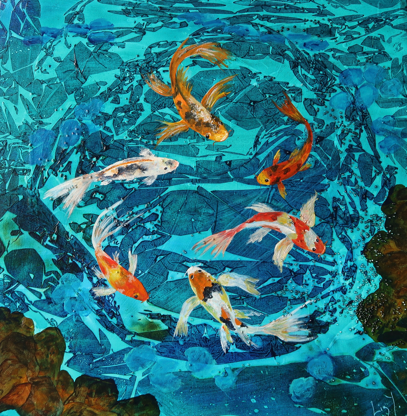 Koi pond by elizabeth young paintings for sale bluethumb for Koi ponds for sale