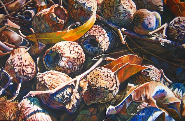(CreativeWork) Bush Litter by Delma White. Oil Paint. Shop online at Bluethumb.