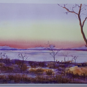 (CreativeWork) Dawn Breaks by Robert Vallance. watercolour. Shop online at Bluethumb.