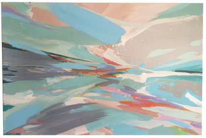 (CreativeWork) Abstract Seascape II by Krystal Lopez-Barahona. arcylic-painting. Shop online at Bluethumb.