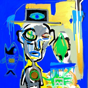 (CreativeWork) Face of Greed by Cameron Holmes. mixed-media. Shop online at Bluethumb.
