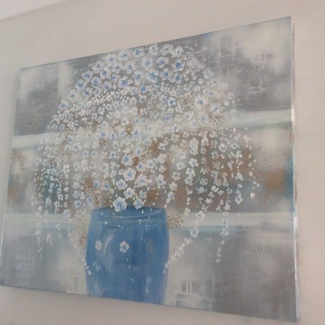 (CreativeWork) blanc sur bleu 61x76x3.5 Quality Canvas by Louise Croese. Acrylic Paint. Shop online at Bluethumb.