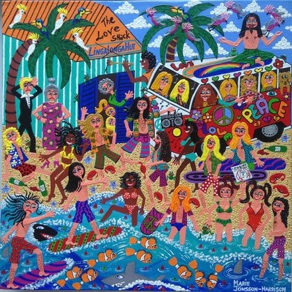 (CreativeWork) The Hippie Invasion by Marie Jonsson-Harrison. arcylic-painting. Shop online at Bluethumb.