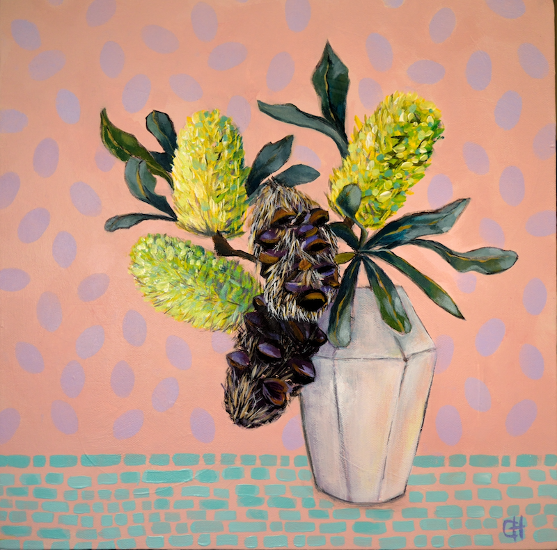 (CreativeWork) Banksia Still Life  by Chris Hobel. arcylic-painting. Shop online at Bluethumb.