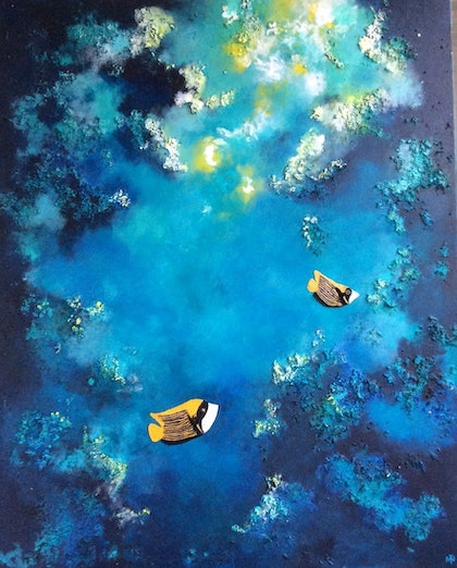 (CreativeWork) Underwater cave by Marilyn Townsend. mixed-media. Shop online at Bluethumb.