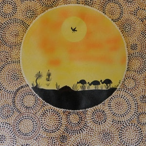 (CreativeWork) Emu's in Australian Bush  by wendy Owen. arcylic-painting. Shop online at Bluethumb.