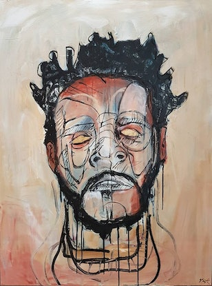 (CreativeWork) Portrait of J.Cole by Sam Patterson-Smith. Mixed Media. Shop online at Bluethumb.