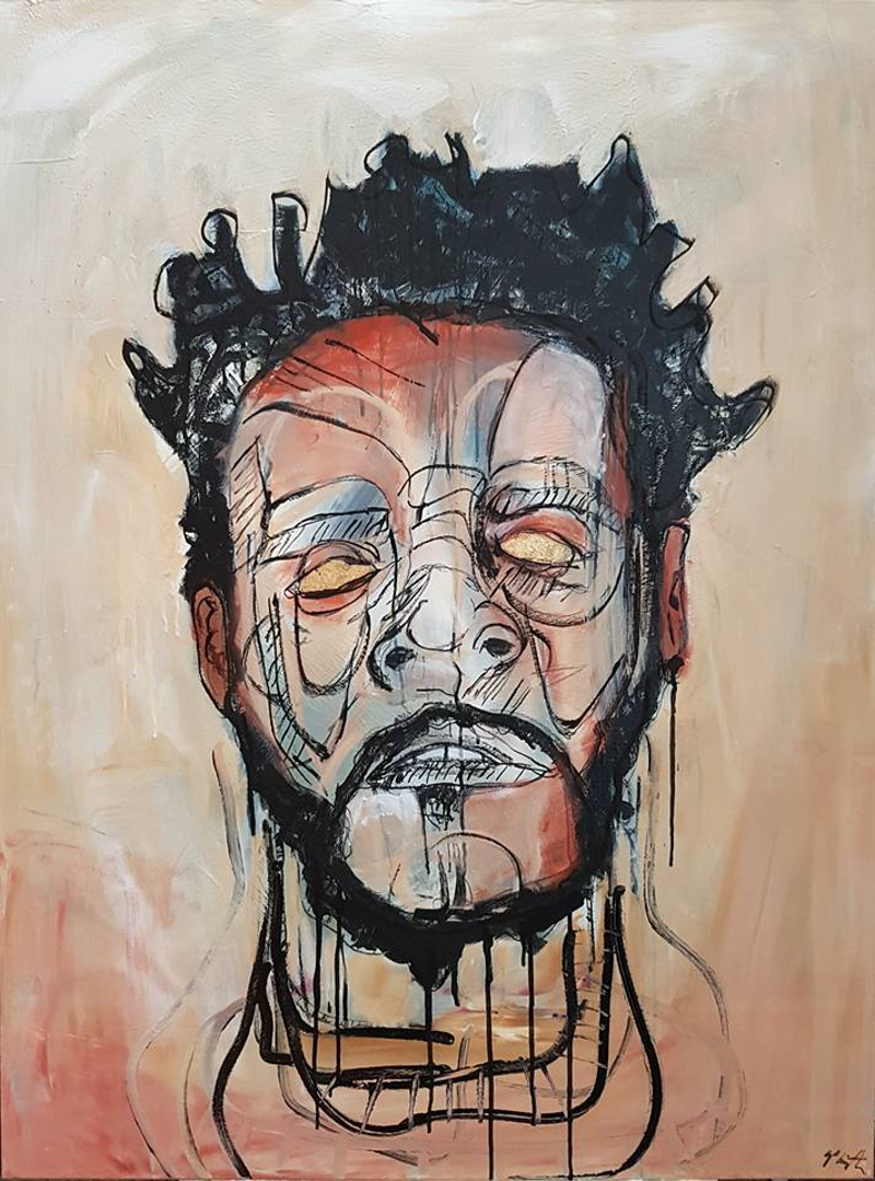 (CreativeWork) Portrait of J.Cole by Sam Patterson-Smith. mixed-media. Shop online at Bluethumb.