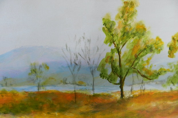 (CreativeWork) Lake Awoonga from the Bush Camp by Anne Huth. Acrylic Paint. Shop online at Bluethumb.