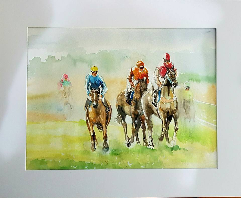 (CreativeWork) The Gallops  by Jacky Werner. watercolour. Shop online at Bluethumb.