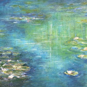(CreativeWork) A Little More Monet by Donna Christie. oil-painting. Shop online at Bluethumb.