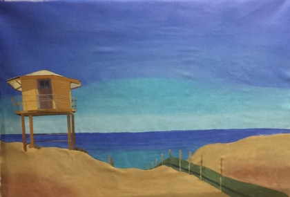 (CreativeWork) Cronulla beach landscape by Dennis Hunter. arcylic-painting. Shop online at Bluethumb.