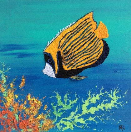 (CreativeWork) Emperor angelfish by Marilyn Townsend. mixed-media. Shop online at Bluethumb.