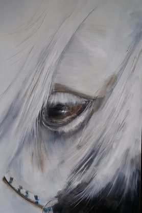 (CreativeWork) one eyed horse by Sandy Muston. Oil Paint. Shop online at Bluethumb.