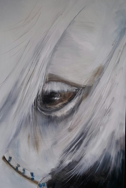 (CreativeWork) one eyed horse by Sandy Muston. oil-painting. Shop online at Bluethumb.
