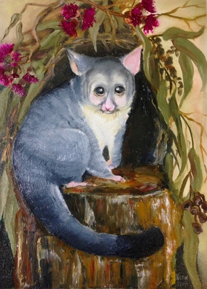 (CreativeWork) The possum by Janine Hammond. oil-painting. Shop online at Bluethumb.