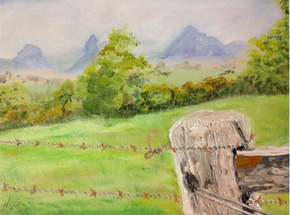 (CreativeWork) Over the fence by Janine Hammond. oil-painting. Shop online at Bluethumb.