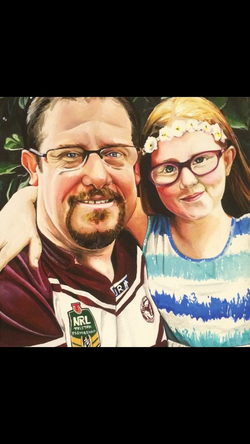 (CreativeWork) Father and Daughter by Caitlin Broderick. arcylic-painting. Shop online at Bluethumb.