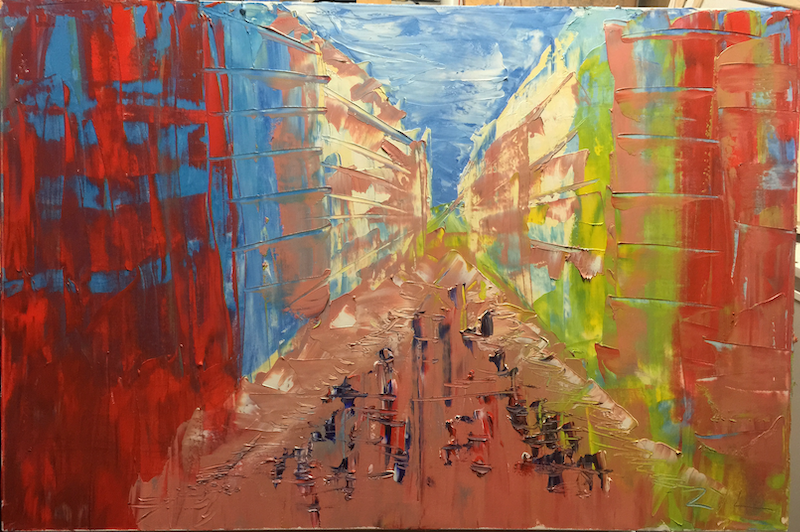 (CreativeWork) Urban Renewal by ZYL ZYLBAT. oil-painting. Shop online at Bluethumb.