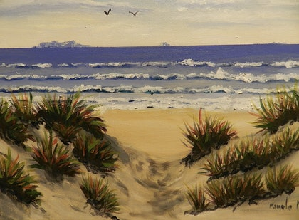 (CreativeWork) Path Through the Sand Dunes by Pamela Meredith. arcylic-painting. Shop online at Bluethumb.