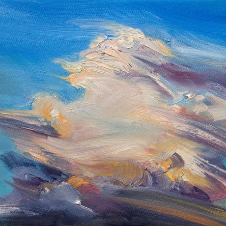 (CreativeWork) Cloudscape by Steven Makse. Oil Paint. Shop online at Bluethumb.