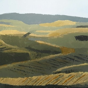 (CreativeWork) Vinyard slopes  by Dawn Lim. arcylic-painting. Shop online at Bluethumb.