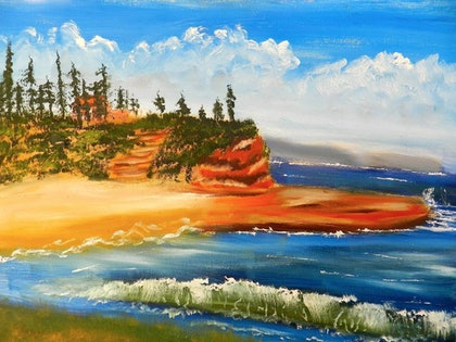 (CreativeWork) Headlands by Pamela Meredith. oil-painting. Shop online at Bluethumb.