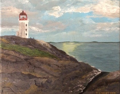 (CreativeWork) Lighthouse memories by T Robertson. arcylic-painting. Shop online at Bluethumb.