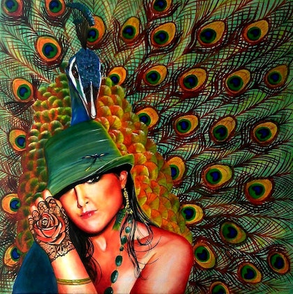 (CreativeWork) Peacock Lady by Ciska McCormack. oil-painting. Shop online at Bluethumb.