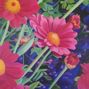(CreativeWork) Sweet Painted Daisy by Louise Taylor. arcylic-painting. Shop online at Bluethumb.