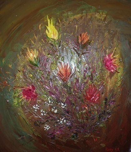 (CreativeWork) Bunch of gift by Rudy A R. oil-painting. Shop online at Bluethumb.