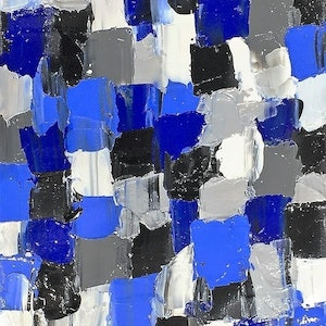 (CreativeWork) Two Blue by Leith Kennedy. acrylic-painting. Shop online at Bluethumb.